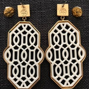 Accessories - Tory Burch Ivory and Gold Earrings